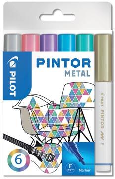 Pilot Pintor Metal marqueur, fine, blister de 6 pièces en couleurs assorties