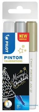 Pilot Pintor Celebrations marqueur, extra fine, blister de 3 pièces en couleurs assorties