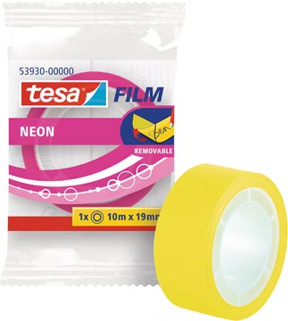 Tesafilm Neon tape, ft 19 mm x 10 m, couleurs assorties: jaune ou rose