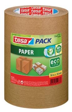 Tesapack paper ecoLogo, ft 50 mm x 50 m, bruin, pak van 3 stuks