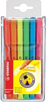 STABILO flash markeerstift, etui van 6 stuks in geassorteerde kleuren