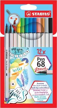 STABILO Pen 68 brush, étui de 12 pièces en couleurs assorties