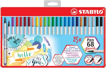 STABILO Pen 68 brush, boîte métallique de 25 pièces en couleurs assorties