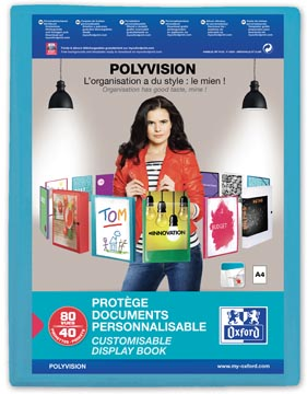 OXFORD Polyvision protège documents personnalisable, format A4, en PP, 40 pochettes, bleu