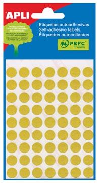 Apli ronde etiketten in etui diameter 10 mm, geel, 315 stuks, 63 per blad (2051)
