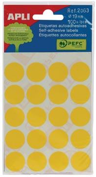 Apli ronde etiketten in etui diameter 19 mm, geel, 100 stuks, 20 per blad (2063)
