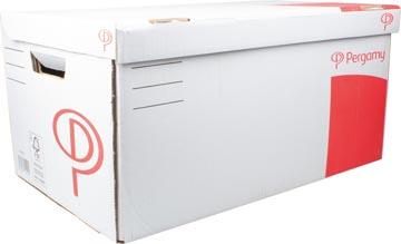 Pergamy conteneur à archives, 52 x 26 x 34 cm (l x h x p), blanc, montage manuel