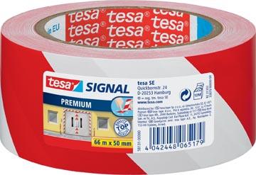 Tesa ruban de signalisation premium ft 50 mm x 66 m, rouge/blanc