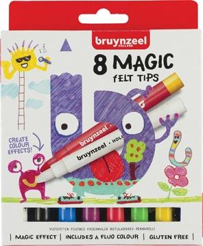 Bruynzeel Magic viltstiften, etui van 8 stuks