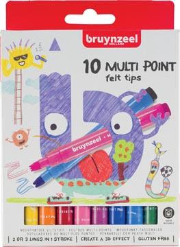 Bruynzeel Kids feutres Multi Point, étui de 10 pièces en couleurs assorties