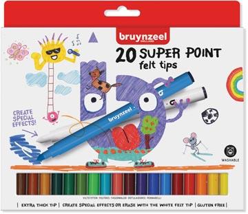 Bruynzeel Kids feutres Super Point, set de 20 stuks en couleurs assorties