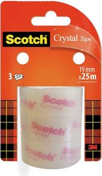 Scotch Crystal Clear Tape, Navullingen, 19 mm x 25 m, 3 rollen