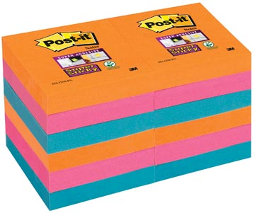 Post-it Super Sticky notes Bangkok, ft 51 x 51 mm, 90 vel, pak van 12 blokken