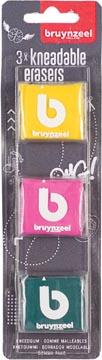 Bruynzeel kneedgum, blister met 3 stuks in geassorteerde kleuren