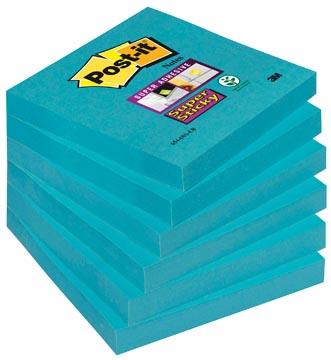 Post-it Super Sticky notes, ft 76 x 76 mm, electric blauw, 90 vel, pak van 6 blokken