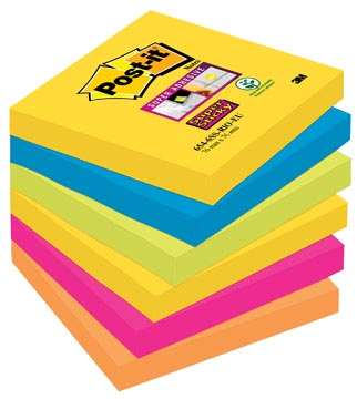 Post-it Super Sticky notes Rio, ft 76 x 76 mm, 90 feuilles, paquet de 6 blocs