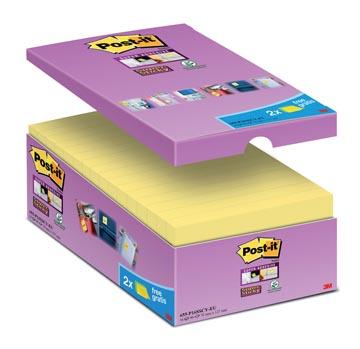 Post-it Super Sticky notes, ft 76 x 127 mm, geel, 90 vel, pak van 14 + 2 gratis