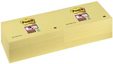 Post-it Super Sticky notes, ft 76 x 127 mm, geel, 90 vel, pak van 12 blokken