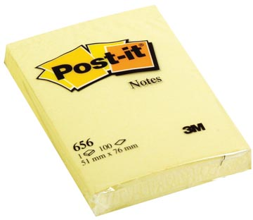 Post-it Notes, ft 51 x 76 mm, jaune, bloc de 100 feuilles