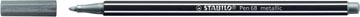 STABILO Pen 68 metallic viltstift, zilver