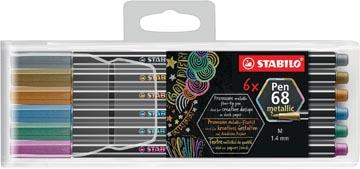 STABILO Pen 68 metallic feutre, 6 couleurs, étui de 6 pièces