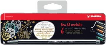 STABILO Pen 68 metallic feutre, 6 couleurs, boîte métallique de 6 pièces