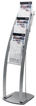 Deflecto Folderhouder op L-voet met 6 compartimenten, ft A4, grijs