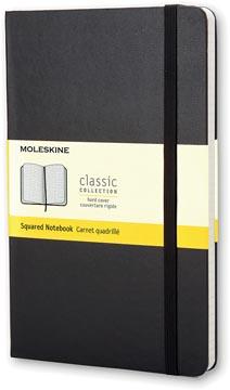Moleskine notitieboek, ft 13 x 21 cm, geruit, harde cover, 240 bladzijden, zwart
