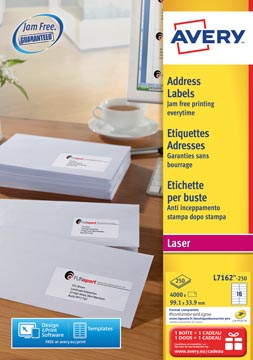 Avery L7162, Etiquettes adresses, Laser, Ultragrip, blanches, 250 pages, 16 per page, 99,1 x 33,9 mm