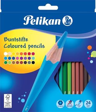 Pelikan crayon de couleur, étui de 24 pièces en couleurs assorties
