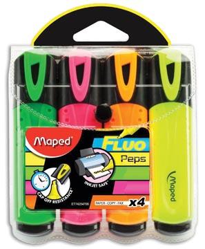 Maped markeerstift Fluo'Peps Classic etui van 4 stuks: geel, oranje, roze en groen