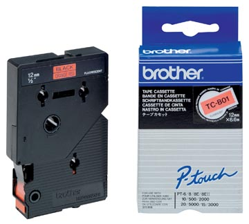 Brother tape P-Touch 12 mm, zwart op fluo oranje