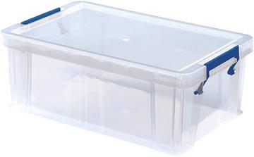 Bankers Box boîte de rangement 10 litres,transparent avec poignées bleues, set de 4 pcs emb en carton
