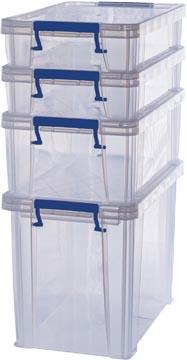 Bankers Box boîte de rangement 1 x 18,5L + 2 x 5,5L + 1 x 10L, transparent, set de 4 pcs emb en carton