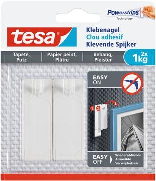 Tesa Klevende spijker voor behang en pleisterwerk, draagkracht 1 kg, blister van 2 stuks