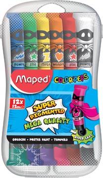 Maped gouache Color'Peps, 12 ml, 12 tubes en étui plastique