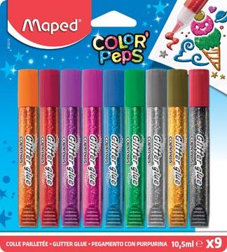 Maped glitterlijm Color'Peps, etui van 9 tubes van 10,5 ml