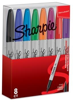 Sharpie marqueur permanente, fin, étui de 8 pièces en couleurs assorties
