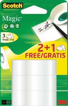 Scotch Magic plakband Ft 19 mm x 15 m 2 + 1 gratis
