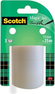 Scotch ruban adhésif Magic Tape, 19 mm x 25 m, 3 rouleaux