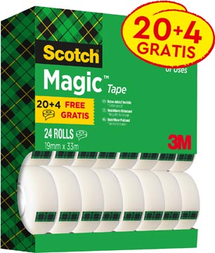 Scotch Magic Tape plakband ft 19 mm x 33 m, value pack met 24 rollen