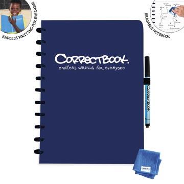Correctbook A4 Original: uitwisbaar / herbruikbaar notitieboek, gelijnd, Midnight Blue (marineblauw)