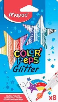 Maped viltstift Color'Peps Glitter, etui van 8 stuks in geassorteerde kleuren