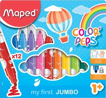 Maped viltstift Color'Peps Jumbo Early Age, etui van 12 stuks in geassorteerde kleuren