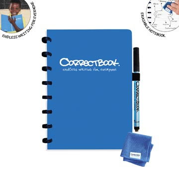Correctbook A5 Original: uitwisbaar / herbruikbaar notitieboek, gelijnd, blauw