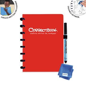 Correctbook A5 Original: uitwisbaar / herbruikbaar notitieboek, gelijnd, rood