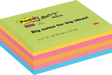 Post-it Super Sticky Meeting Notes, ft 203 x 152 mm, couleurs assorties, 45 feuilles, paquet de 6 blocs