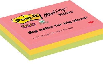 Post-it Super Sticky Meeting Notes, ft 203 x 152 mm, couleurs assorties, 70 feuilles, paquet de 3 blocs