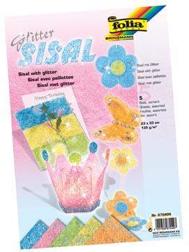 Folia Sisalpapier Glitter Pastel (oranje, citroengeel, lichtgroen, roze, lichtblauw)