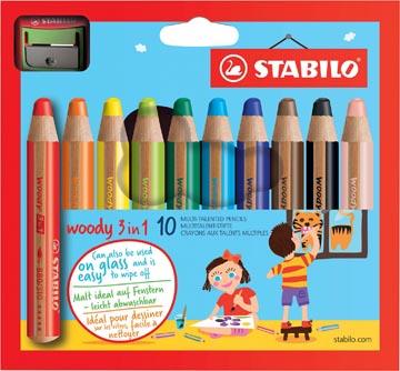 STABILO woody 3in1 kleurpotlood, etui van 10 stuks in geassorteerde kleuren